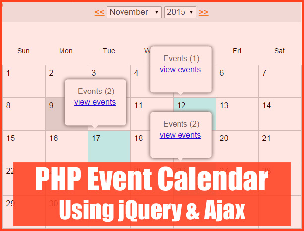 Build an event calendar using jQuery, Ajax and PHP